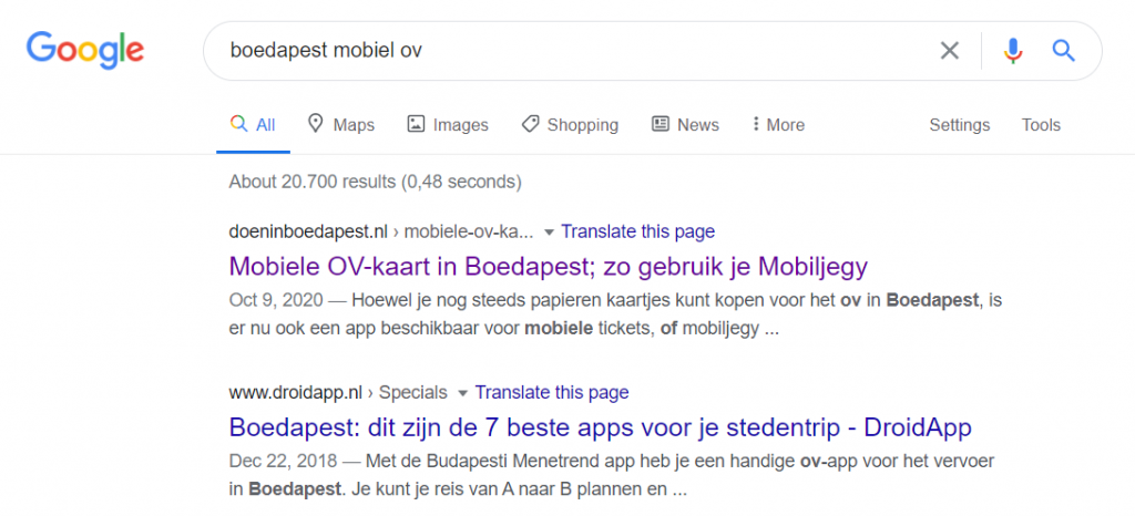 Content optimization: Example of meta title and description in Google search results for doeninboedapest.nl
